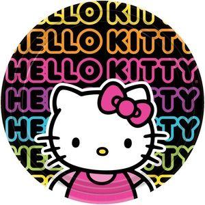 Hello Kitty 'Neon Tween' Large Paper Plates (8Ct)
